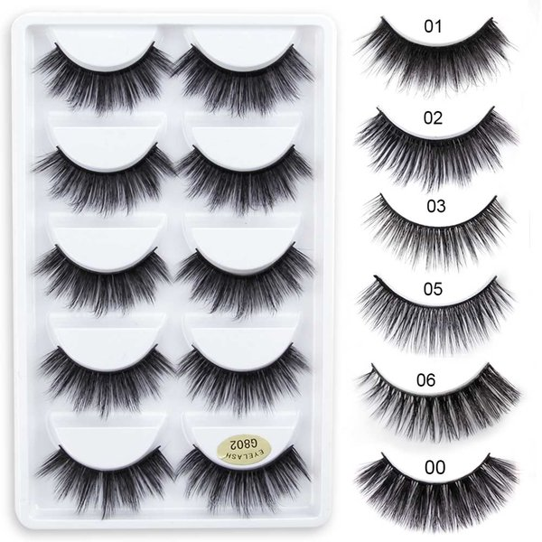 5 Pairs/Box 3D Mink Lashes 100% Thick Real Mink False Eyelashes Natural for Beauty Makeup Extension Fake Eyelashes False Lashes