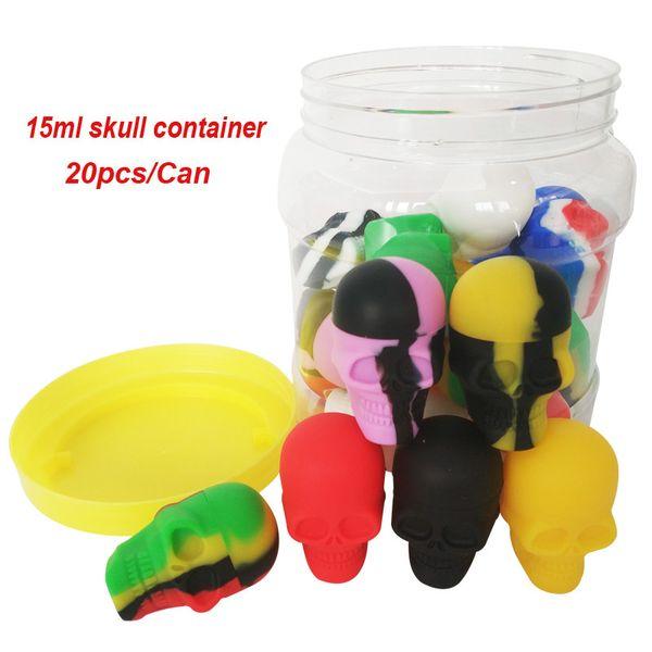 Conteneurs 20pcs / Can 15ml Crâne Contenants Assortiment Couleur Cire Silicone Conteneur Pour Dab Wax Concentrate D'huile Concentrateur Bocaux Mini boîtes