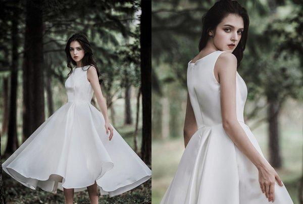Longitud del té simple Vestidos de novia Princesa Una línea Joya Cuello Sin mangas Satén Corto País Vestidos de boda baratos