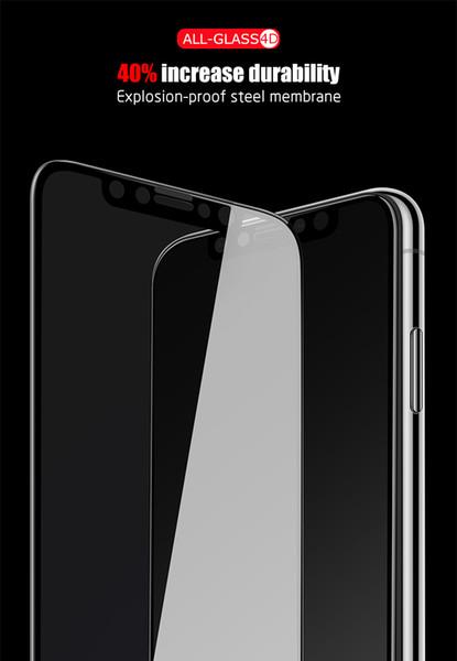 Sıcak stil serigraf baskı tam tutkal tam kapak siyah sınır temperli cam ekran koruyucu için iphone x xs için xr xs xs max