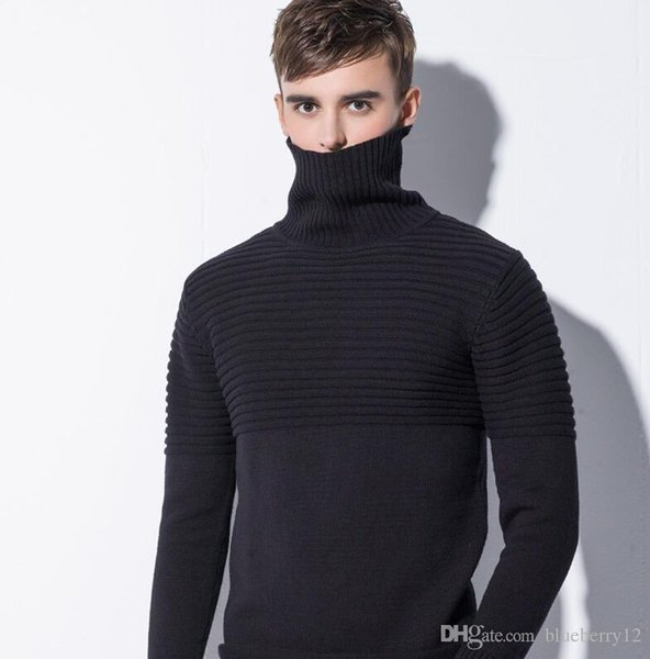 Nice Mens Turtle Neck Sweaters Rib Stitch Solid Pullovers 3 Colors Cotton Knitted Long Sleeve Sweater For Autumn And Winter