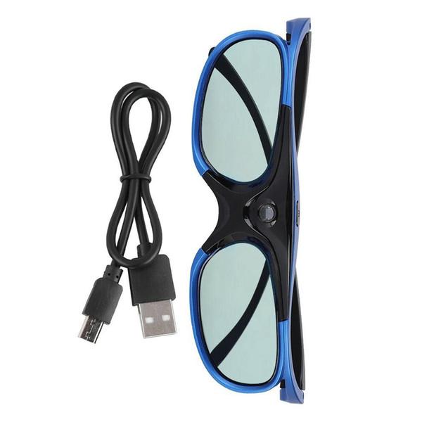 Gafas 3D Universal Easy Wear Plegable USB Recargable Active Shutter Visual Ultra Clear Práctico para DLP Link Projector