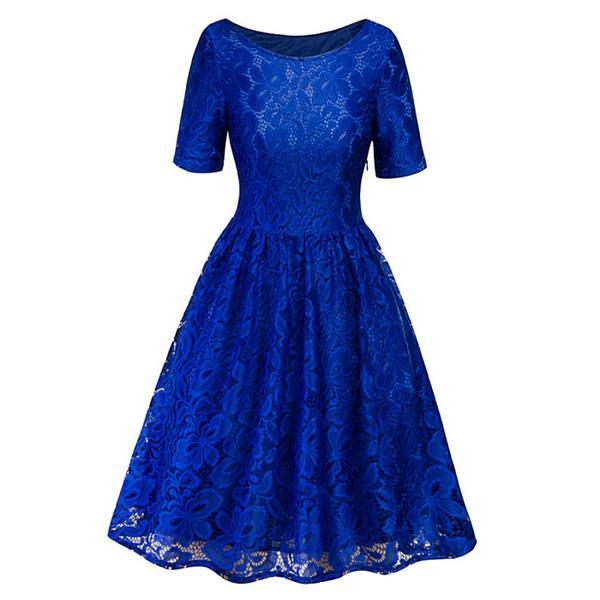 azul vestido de encaje
