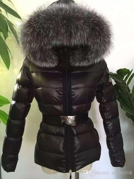 Manteau en duvet de canard pour femmes MR43 100% grande veste en duvet de fourrure de renard avec capuche et ceinture à la taille épaisse Parkas en duvet de canard.