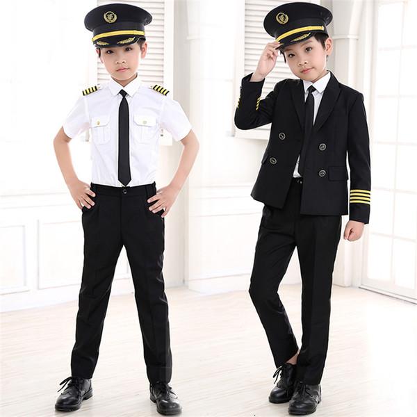 Costumi 90-160cm bambini pilota Carnival Party di Halloween di usura di volo Uniformi Cosplay Attendant bambini Aircraft Captain Abbigliamento