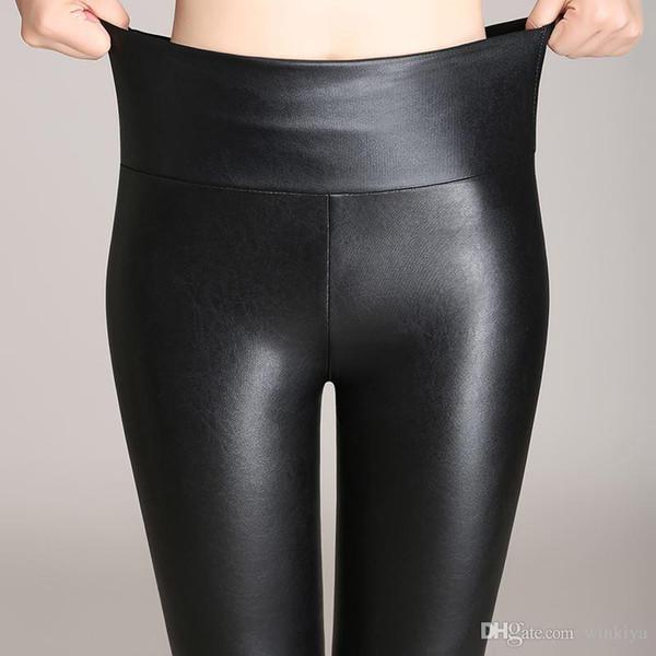 Dama primavera otoño terciopelo pantalones calientes para la muchacha delgadas de piel sintética leggings mujeres flaco PU legging cintura alta lápiz pantalón
