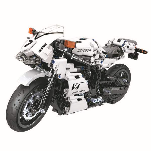 best selling Boy creative assembling building blocks racing cool LED lights motorcycle children's model educational toys 716 particles