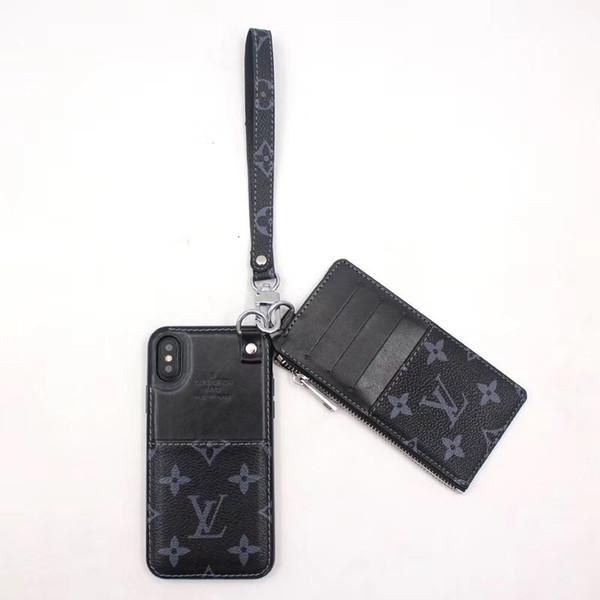 Designer Luxury Phone Case Fashion Con cordino con pacchetto Card per iPhone XS MAX XR Custodia Shell Protector per IPhone X XS 8 6s 7 Plus Back Cove