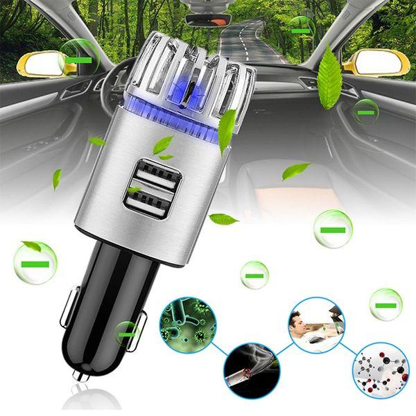 2-in-1 Ionic Auto Luftreiniger Dual USB Ladegerät 12 (V) Ionisator Mit Blauem LED-Licht Auto Lufterfrischer Zum Entfernen von Rauchstaub Geruch HHA354