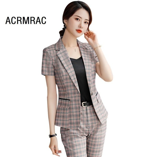 Women Suits Slim Summer Plaid Blazers Ankle-length Pants 2-piece Set Ol Formal Business Women Pants Suits Women Set Suits J190430