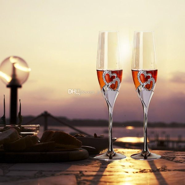 2Pcs/Set Wedding Champagne Wine Glasses Crystal Silver Plated Toasting Flutes Cup for Party Decoration