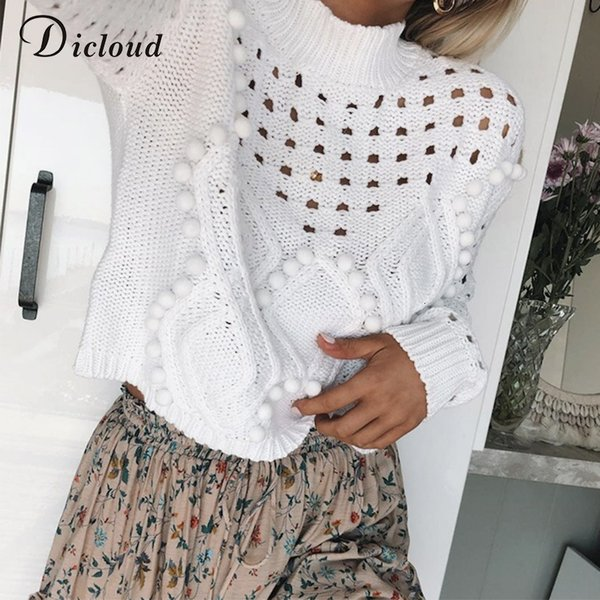 DICLOUD Hollow Out White Sweaters Women Autumn Winter 2019 Turtleneck Long Sleeve Knitted Jumpers Casual Ladies Pullovers Black T190923