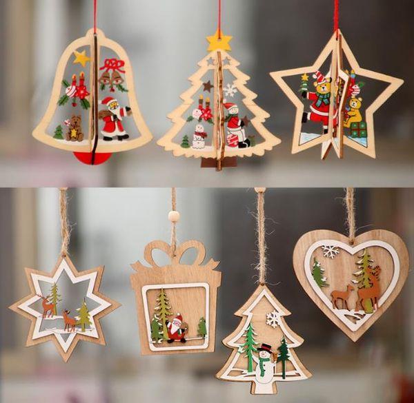 Albero di Natale in legno Ornamenti appesi Decorazioni alce Cervo pupazzo di neve santa snowfake modello pendenti rustico Home Window Decor Artigianato