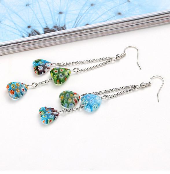 Jewelry Multi Color Flower Long Charm Earring Heart Hawii Temperament Glazed Dangle Chandelier Stainless steel Alloy Women European American