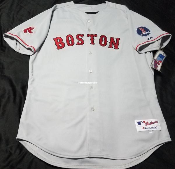Barato Majestuoso BOSTON en blanco PARCHE FUERTE EN EL JUEGO Jersey para hombre cosido al por mayor Big And Tall TAMAÑO XS-6XL camisetas de béisbol
