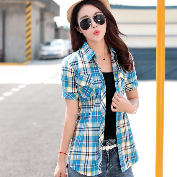 94be95d9620 2018 новый летний стиль женские рубашки 14 цветов 100% хлопок с коротким  рукавом печати в