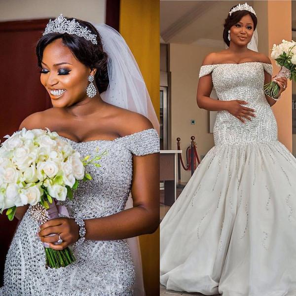 Dubai African Plus Size Wedding Dress Mermaid Off Shoulder