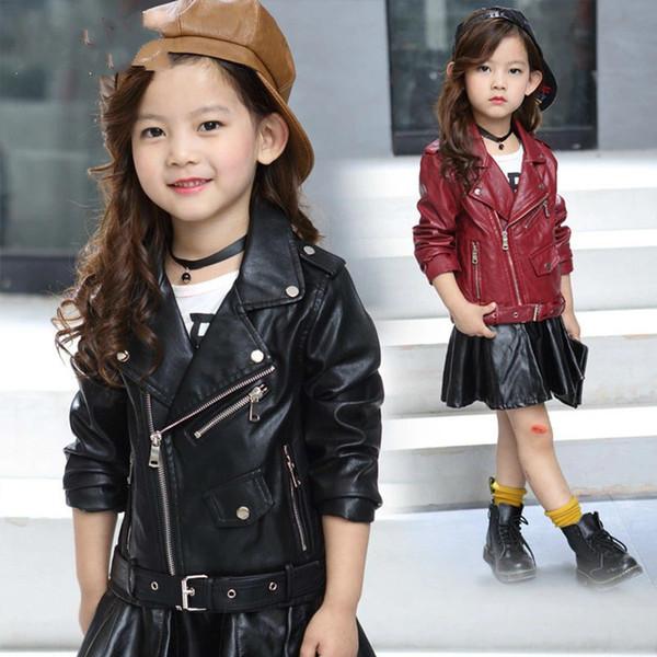 top popular New Autumn Children's Garment Girl Pu Leather Clothing Short Belt Buckle Solid Color Jacket Loose Coat Children Kids Clothes 2020