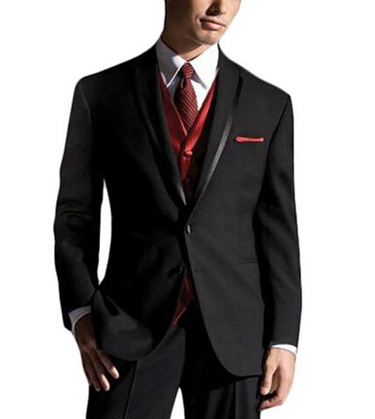 Şık iki düğme siyah Damat Smokin şal Yaka Groomsmen Erkekler Düğün Damat (Ceket + Pantolon + Yelek + Kravat) NO: 167