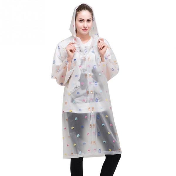 New Fashion Women Floral Transparent Eva Plastic Girls Raincoat Travel Waterproof Rainwear Adult Poncho Outdoor Rain Coat
