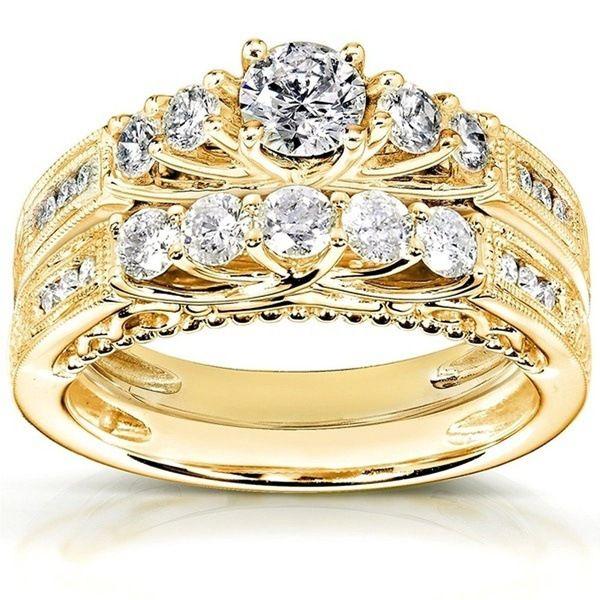 2 pz / set 18k placcato oro strass di cristallo fascia anello set amanti coppia matrimonio festa di fidanzamento gioielli regalo formato degli Stati Uniti 6-10