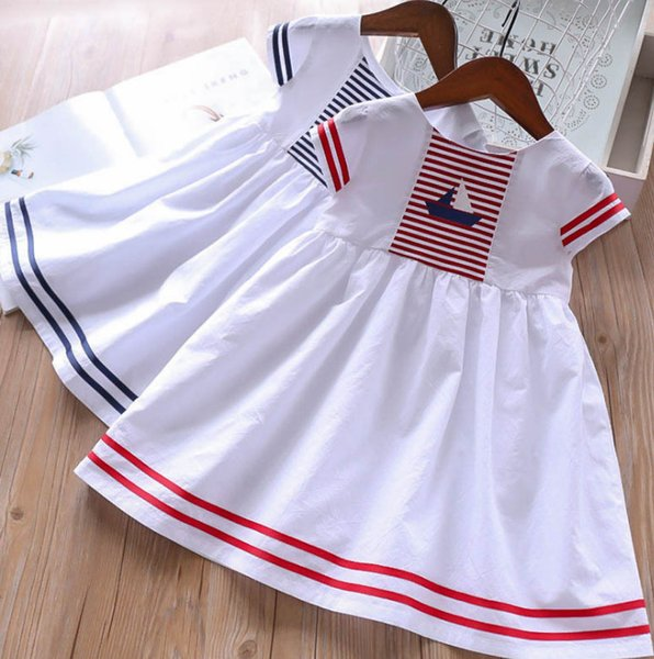 e0ebb7ef357f Girls stripe dress 2019 new kids sailing printed princess dress children  round collar short sleeve dress summer kid clothes F4651