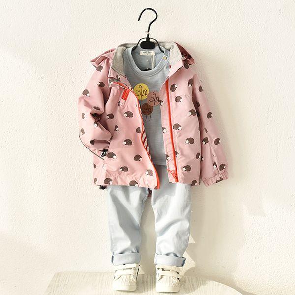 Kızlar için ceketler Mont Pembe Çocuklar Bahar Sonbahar giyim Trençkot bebek kız rüzgarlık Rahat Giyim Hoodies Ceket