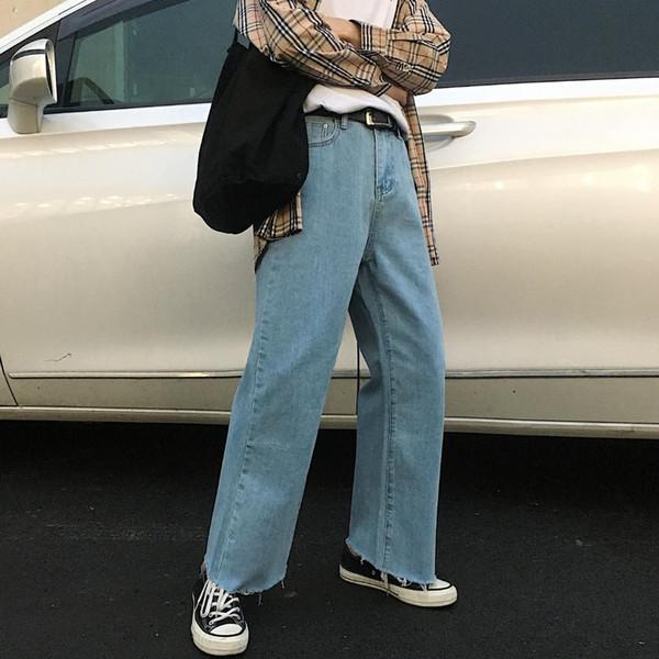 2019 frühling männer neue baggy homme casual breite beinhosen klassische Cargo Pocket Jeans Blau / weiß Farbe Biker Denim Hose M-XL