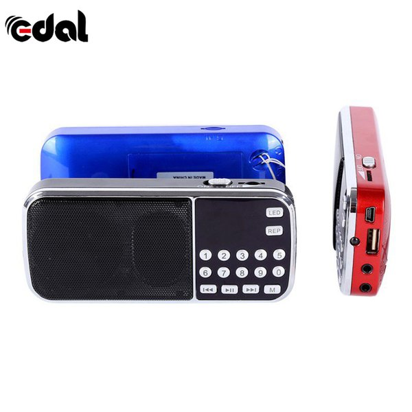 Mini Radio Speaker Blue Black Red Mini Portable Digital Stereo FM Music Player with TF Card USB AUX Input Sound Box