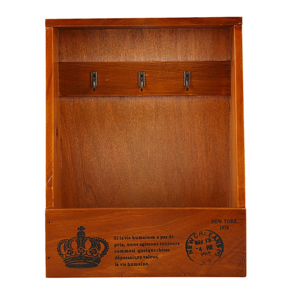 Boîte en bois Key Garden Key Collect Hanger cas cintre en bois cas Crochet mural Boîte aux lettres Bureau Stockage