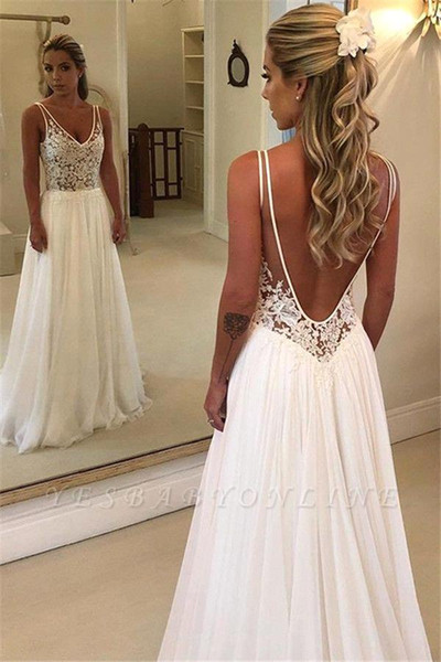 Discount Summer Beach Bohemian Cheap Wedding Dresses Low Back A Line V Neck Appliques Top Chiffon Long Robe De Soriee Boho Wedding Gowns Bc0875