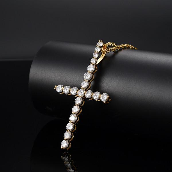 Brass Cross Cubic Zirconia Pendant Women and Men's Necklace Jewelry Gift CN035