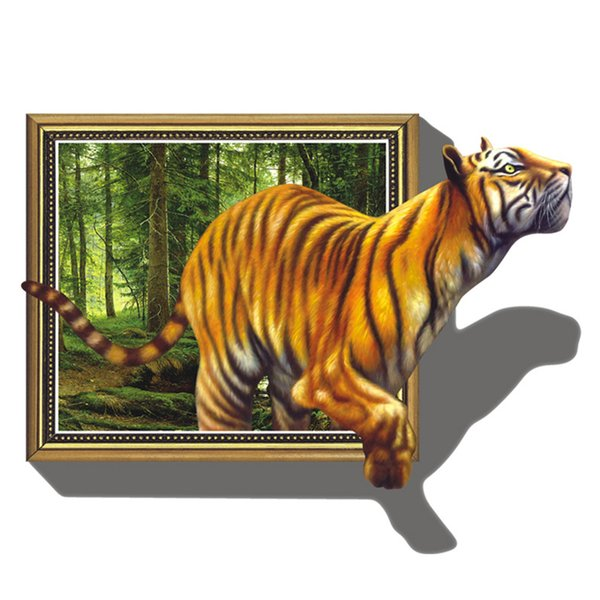 Grande taille 3D Effet Tiger Wall Stickers DIY Mural Chambre Home Décor PVC amovible autocollant Imitation Nouveau Decal 3D