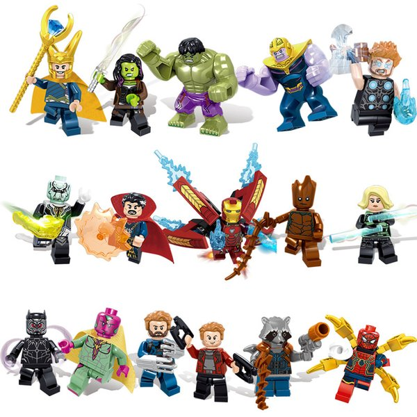 16pcs Avengers 3 Infinity War Super Hero Iron Man Hulk Rocket Thor Thanos Black Panther Spider Man Building Block Toy Action Figure Brick