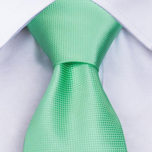 New Hot Sale Men's Necktie Hanky Cufflinks Set Tie for Men Pocket Square Wedding Grooms Solid Mint Green Neck Tie Set MJ-371