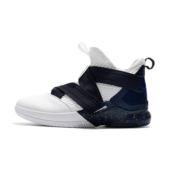 sports shoes fc5fe ce359 2019 Cheap Mens Lebron Soldier 12 Basketball Shoes Black Red White College  Navy Olympic Youth Kids Soldiers Xii Elite Sneakers Tennis With Box From ...