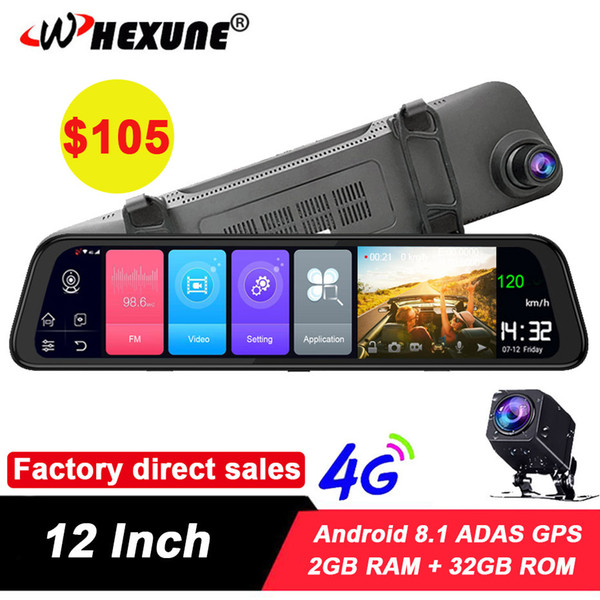 "whexune 12"" 4g adas rearview mirror android 8.1 fhd 1080p dual lens wifi dash cam camera 2g 32g rom gps navigation car dvr"
