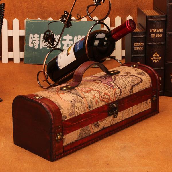 Red wine box Retro Leather Box European Style Gift Wooden Wine Bottle Case Gift Bin Storage Packaging Case Accessory