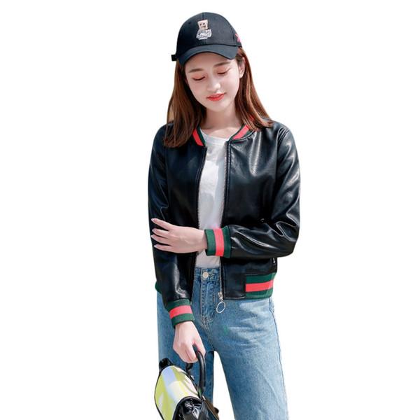Bahar Kısa Ceket Kadın Siyah Bombacı Ceket Suni Deri Yuvarlak Boyun Temel Mont Beyzbol Üniforma Giyim Tişörtü