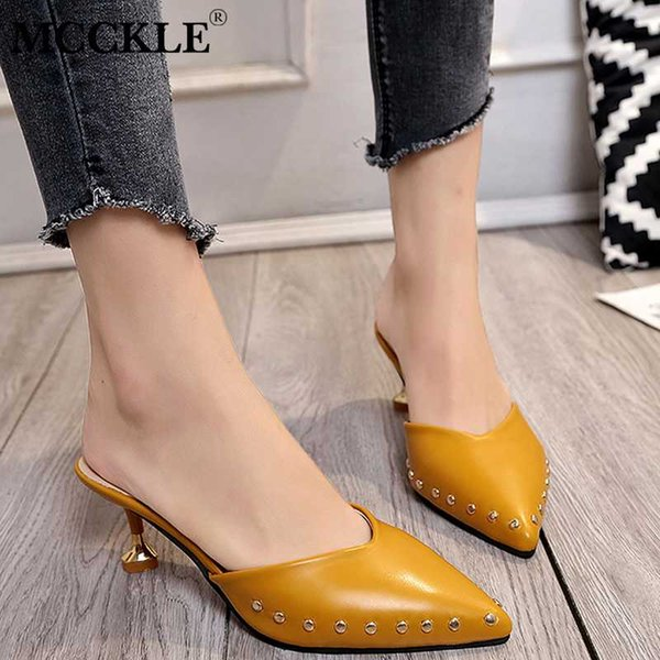 New Women Summer Mules Slippers High Heels Ladies Rivets Pointed Toe Strange Style Female Outside Shoes For Girls Drop Shipping