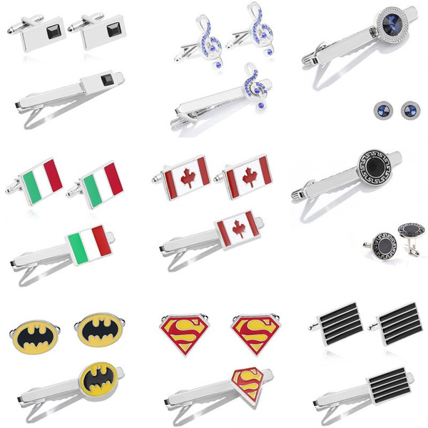Manschettenknopf Krawattenklammer Sets Mix Design Krawatte Krawattenklammern Kristall Legierung Verschluss Clip Krawattenklammern Batman Superman Silber Überzogene Für Männer Geschenk