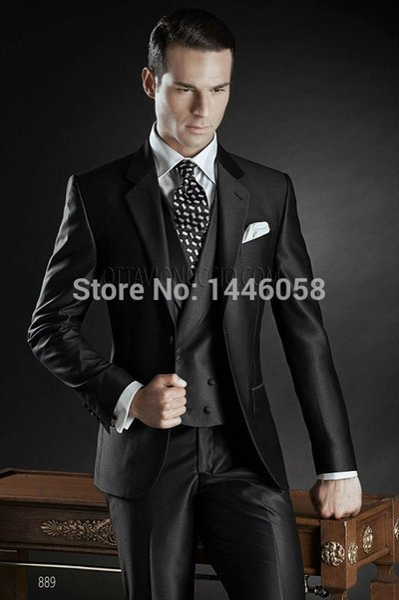 2017 New Custom Made Groom Tuxedos Shiny Black Best man Notch Lapel Groomsman Men Wedding Suits Bridegroom(Jacket+Pant+Vest) #490699
