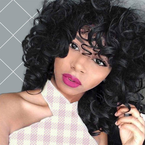Curly Wigs Synthetic Kinky Wig with Bangs Fluffy Wavy Black Hair for Women Natural Looking with Heat Resistant Fiber