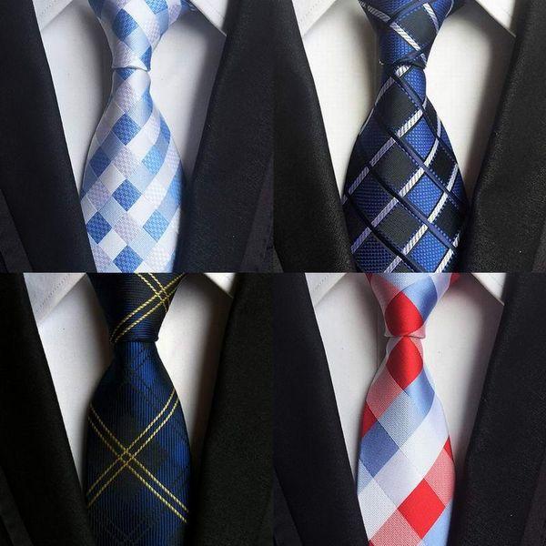 SKng Classic 100% Silk Mens Ties New Design Neck Ties 8cm Plaid&Striped for Men Formal Business Wedding Party Gravatas