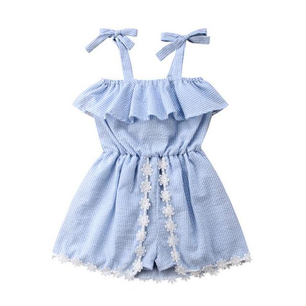 2019 Summer Baby Girls Jumpsuit Fashion Children Suspender Striped One-piece Cotton Bodysuit Girls Romper