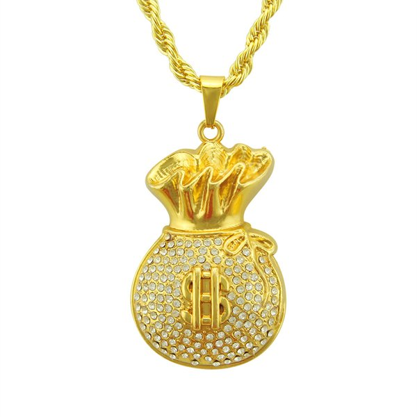 Men Women Hip Hop Steel Dollar $ Sign Necklaces Golden Money Purse Wallet Chains Bling Rhinestone Jewelry Gift Pendants