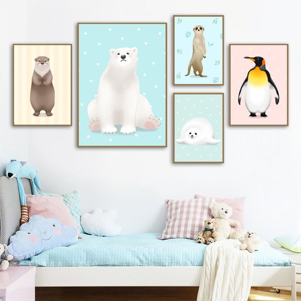 Cartoon Penguin Bear Sea Lion Animal Nordic Poster e stampe Wall Art Canvas Painting Nursery Immagini di parete Kids Room Decor