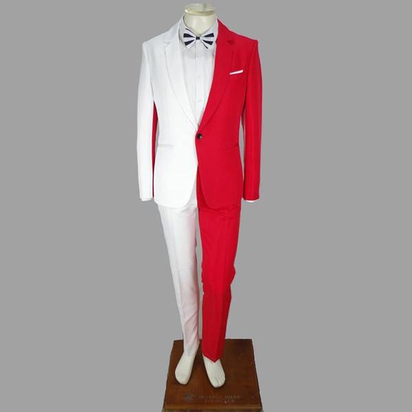 Empalme blanco Blazers irregulares Esmoquin trajes para hombres adultos Mago presentador Cantante Bailarín Traje de la etapa Traje de rendimiento