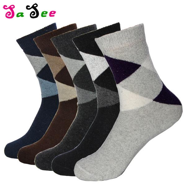 5 Paar Neue Kaninchen Wollmischung Qualität Frühling Winter Warme Socken Männer Deodorant Atmungsaktive Weiche Große Rautenmuster Männliche Socke Meias