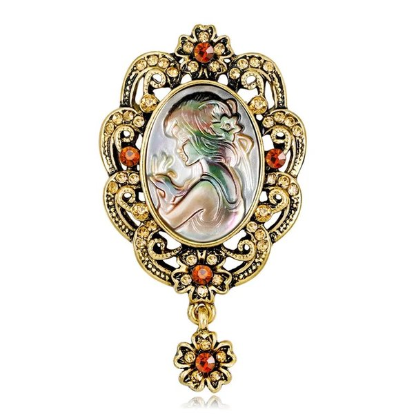 Women Brooches Retro Romantic Abalone Pearl Shell France Beauty Girl Head Rainstone Diamond Pendant Pins Brooch Dress Tie Suit Flower Pin